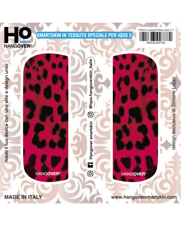 Leopard Ruby - Cover SmartSkin in Tessuto Speciale per Iqos 3 by Hangover package