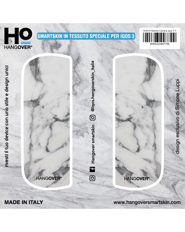 Marble Carrara - Cover SmartSkin in Tessuto Speciale for Iqos 3 by Hangover package