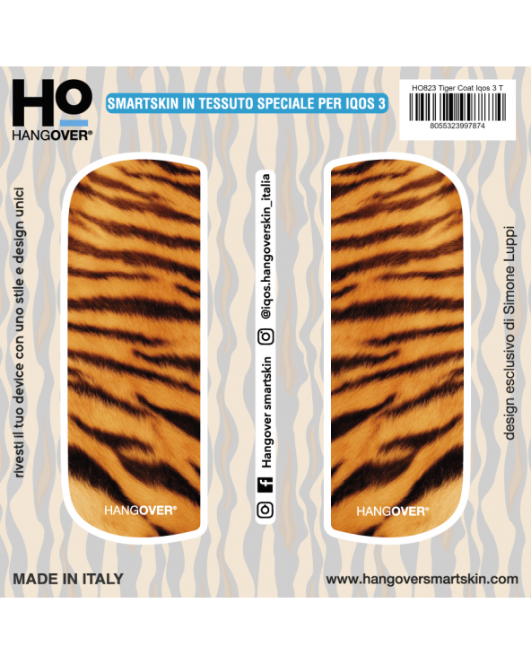 Tiger Coat - Cover SmartSkin in Tessuto Speciale per Iqos 3 by Hangover package