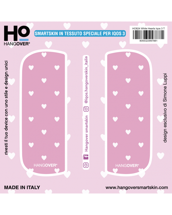 White Hearts - Cover SmartSkin in Tessuto Speciale per Iqos 3 by Hangover package