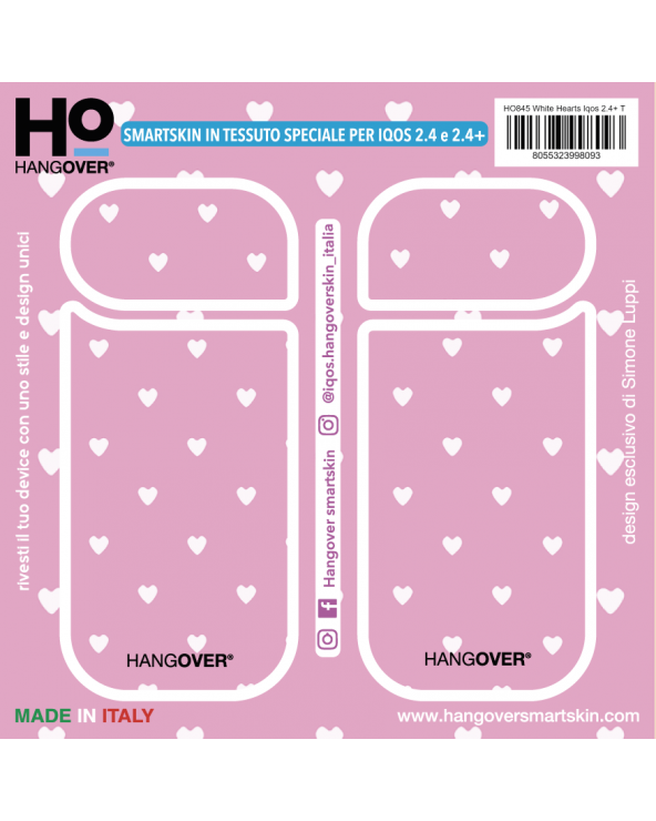 White Hearts - Cover SmartSkin in Tessuto Speciale per Iqos 2.4 e 2.4 plus by Hangover package