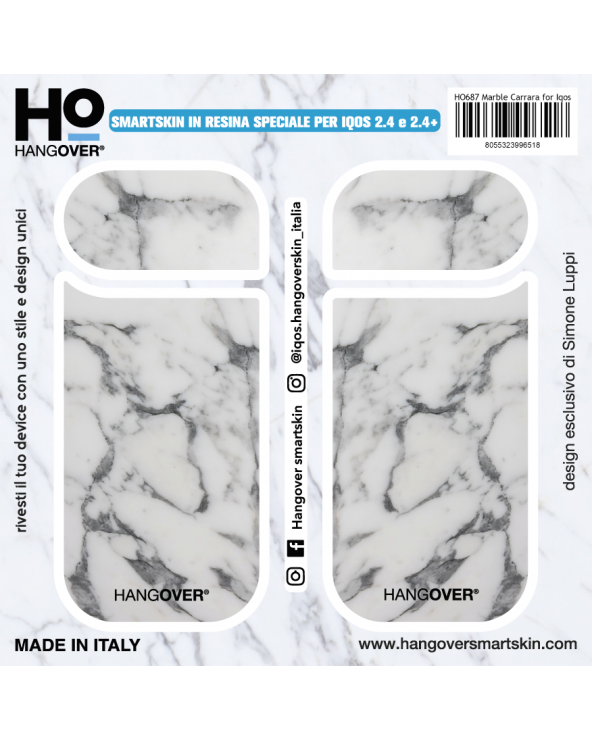 Marble Carrara - Cover SmartSkin Adesiva in Resina Speciale per Iqos 2.4 e 2.4 plus by Hangover package